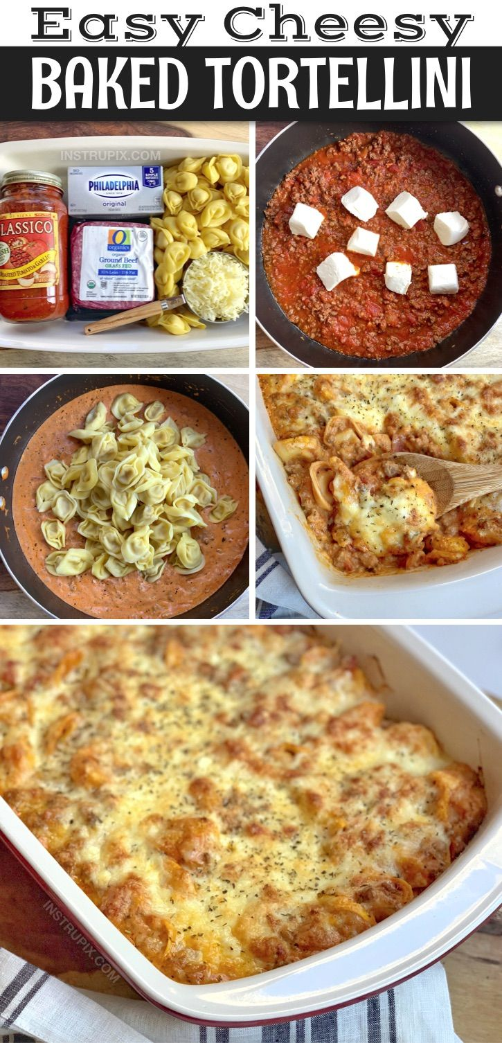 Cheesy Baked Tortellini Casserole With Meat Sauce Recipe In 2020