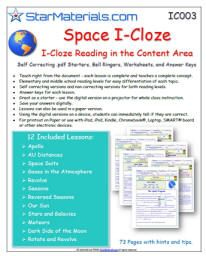 Free *I-CLOZE Interactive CLOZE Readings in the Content Area - Can be used on Paper and iPad, iPod, Laptop, Desktops, Mac, Windows, Kindles, Smart Boards, Projectors, Netbooks and tablets.
