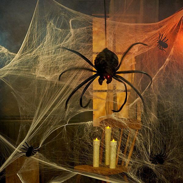 Improvements Hanging & Shaking Spider Halloween Decoration ($40) ❤ liked on Polyvore featuring home, home decor, holiday decorations, halloween decor, halloween spider, hanging halloween spider, halloween home decor, red home accessories, black home decor and red home decor