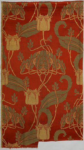 ¤ 'The Kingsbury' (1900) by Harry Napper, English (1860-1940) Manufacturer: Rottmann & Co. MEDIUM: Medium: silk, cotton Technique: machine woven textile. London, England.