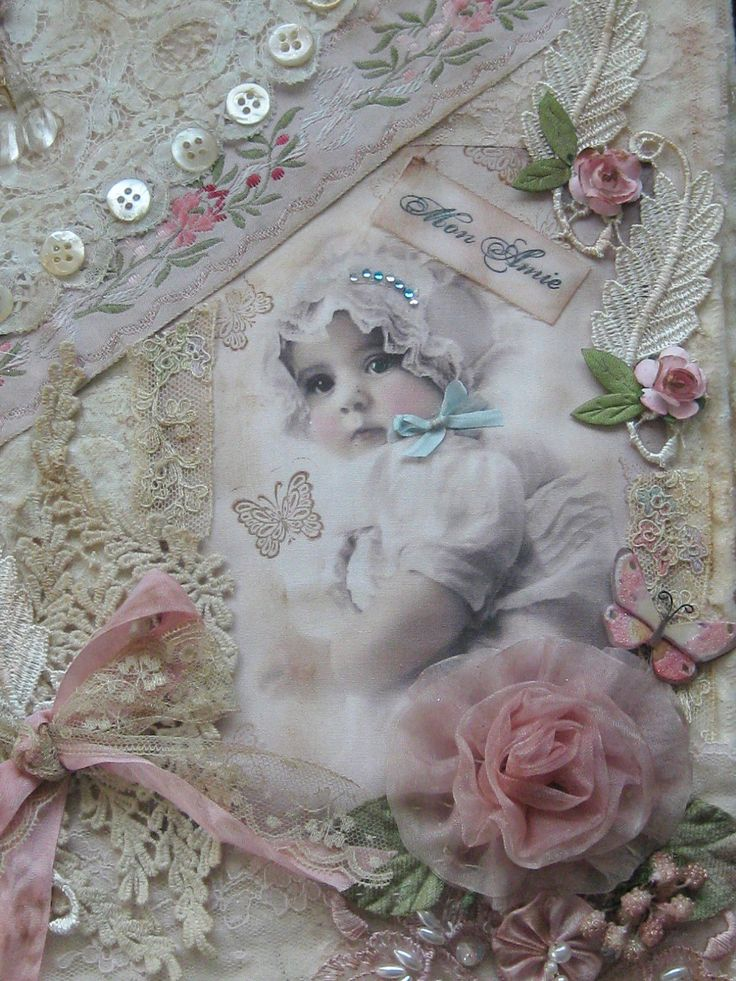 Shabby Mixed Media Collage Baby Album Fabric Journal Lace and Ribbonwork | eBay