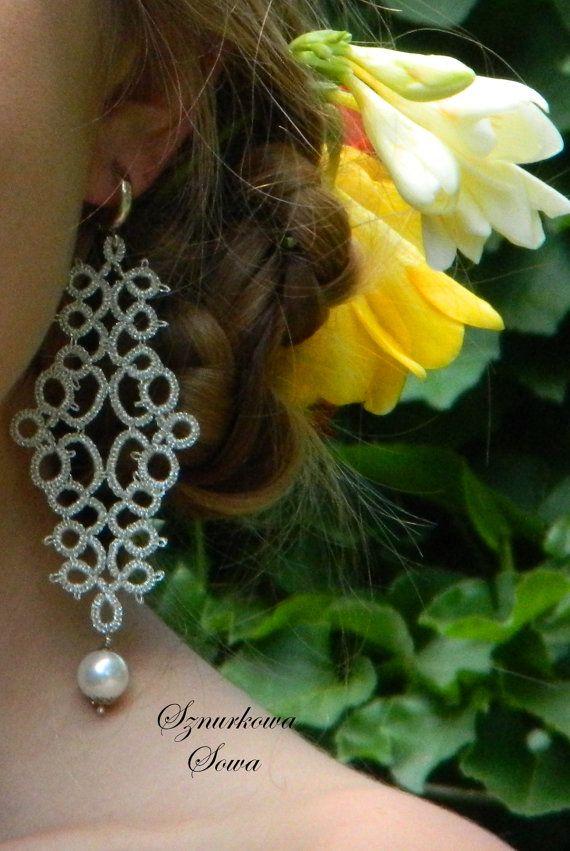 SALE Earrings tatting needle in silver by SznurkowaSowa on Etsy, $19.00