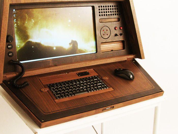 vintage portable computer metal case