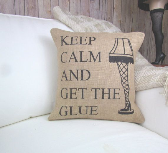 We put a fun twist on one of the best quotes in our favorite movies A Christmas Story. Keep Calm and Get the Glue! We have to save the Major Award! Just perfect for any Christmas Story fan! Can be hand-painted on burlap or 100% white or natural canvas. ***FABRIC OPTIONS*** To change the fabric of this design, use the drop-down menu on the right! PLEASE NOTE: We use all-natural sultana burlap that will occasionally have natural imperfections in the fabirc itself. ***PILLOW INSERT INCLUDED*...