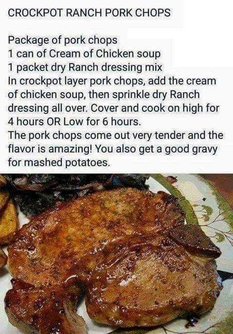 Ranch pork chops crockpot style
