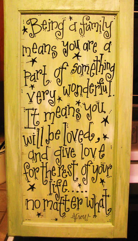 Painted quote on an old cabinet door