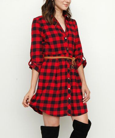 Loving this Red & Black Plaid Shirt Dress & Belt on #zulily! #zulilyfinds