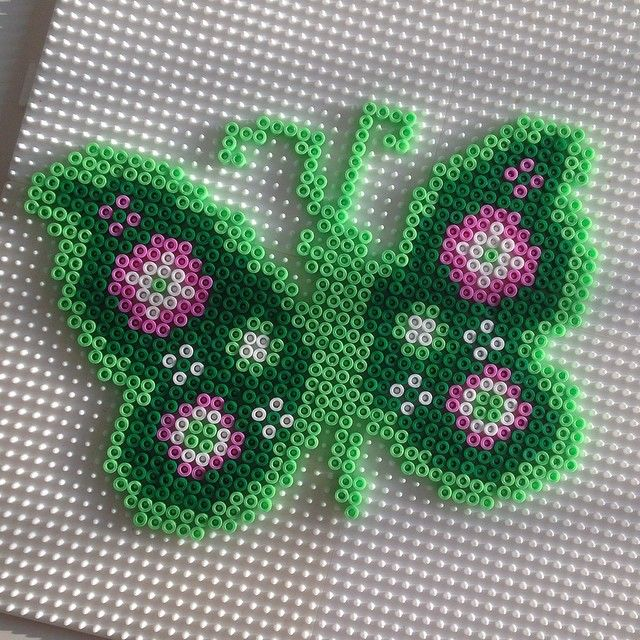 Butterfly hama perler beads by juliebjk - Pattern: http://www.pinterest.com/pin/374291419001118225/