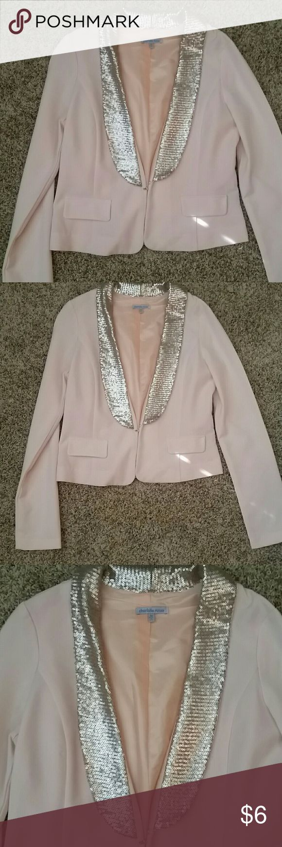pastel pink blazer/ jacket with sequin neck lined Super cute light pink blazer from Charlotte Russe with sequin neck line and satin lining  Perfect condition Charlotte Russe Jackets & Coats Blazers