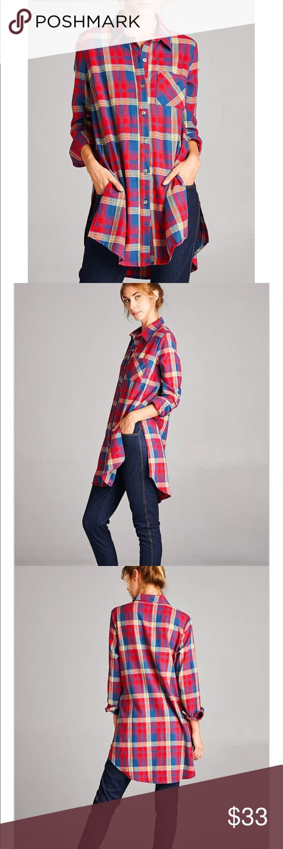 Isla Plaid Wear this casual fun plaid tunic with your favorite skinny jeans or leggings for a day around town. Loose fit, long sleeve, button down, hi-low tunic shirt. Rounded hems. Has side slits. Has single chest pocket at front. This button down is made with heavyweight plaid flannel that is soft, drapes well and has no stretch. Fabric : 100% Cotton Made In : Guatemala nak-dfashion.com Tops Button Down Shirts