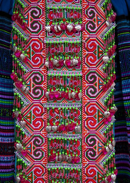 Details Of A Traditional Flower Hmong Cloth, Sapa, Vietnam