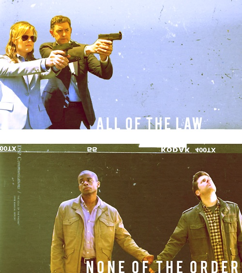 Psych: all of the law, none of the order. love that shawn and gus are holding hands. (: I mean, I know it's a fist bump, but holding hands is not unimaginable for those guys.
