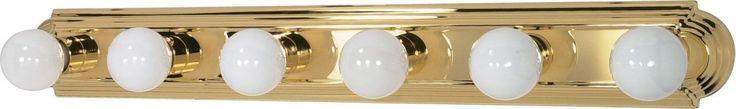 6-Lights Vanity Light Bar Racetrack Style in Polished Brass Finish