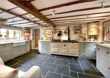 Gorgeous tiled floor in Modern country kitchen