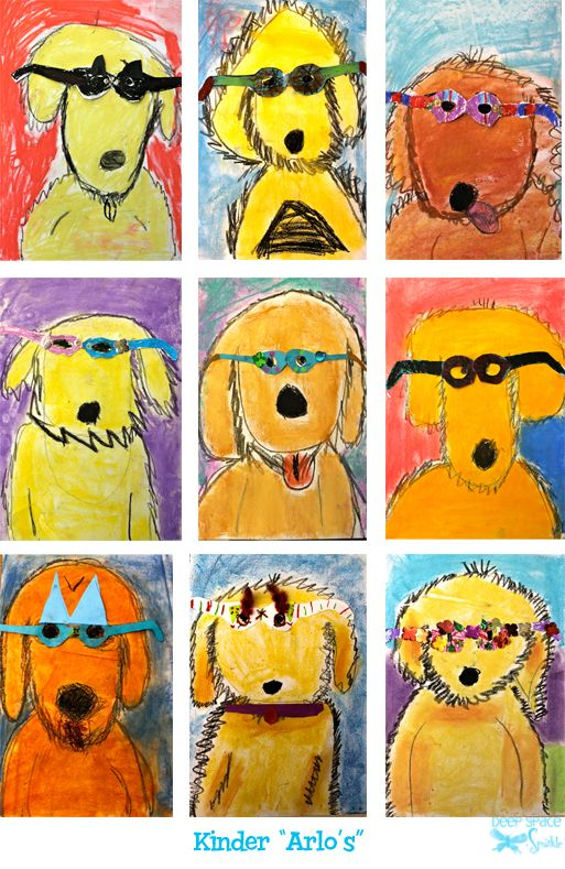 Arlo Needs Glasses Art Lesson kinder kindergarten oil pastel collage children's literature