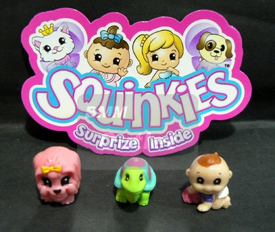 Lot of 3 Squinkies Series Squinkie characters & Containers-Puppies,Turtle,Babies
