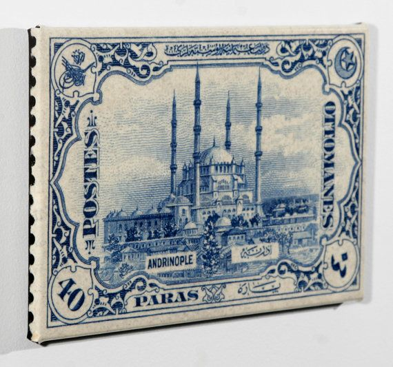 postage stamp enlarged and on canvas