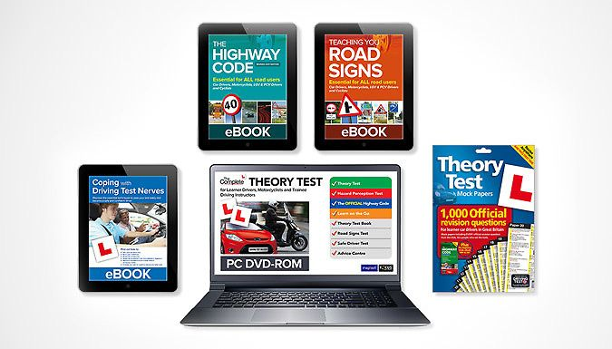The Complete Driving Theory Test Pack - 5 Piece Get in top gear with The Complete Theory Test Pack      Includes 5 pieces: theory test mock papers, DVD and 3 e-books      E-book suite covers the highway code, road signs and more      The DVD features all questions from the official DVSA revision bank      Practice your theory and hazard perception tests      Use mock papers to test yourself...