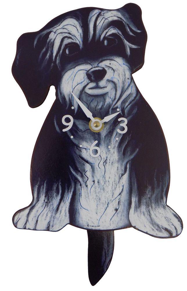 Pink Cloud Grey Hairy Mutt Puppy Dog Pendulum Wall Clock #Pinkcloud