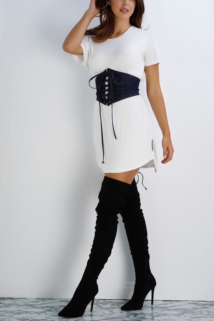 - Corset style belt - Dark wash denim - Model is wearing size XS/S - Made in Los Angeles