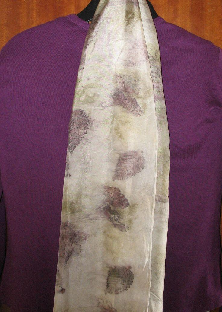 Silk scarf  leaf design created by eco-printing. May 2016