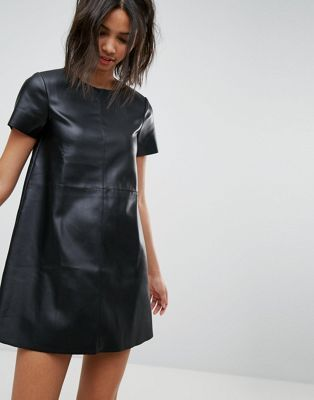 Stradivarius Leather Look Shift Dress