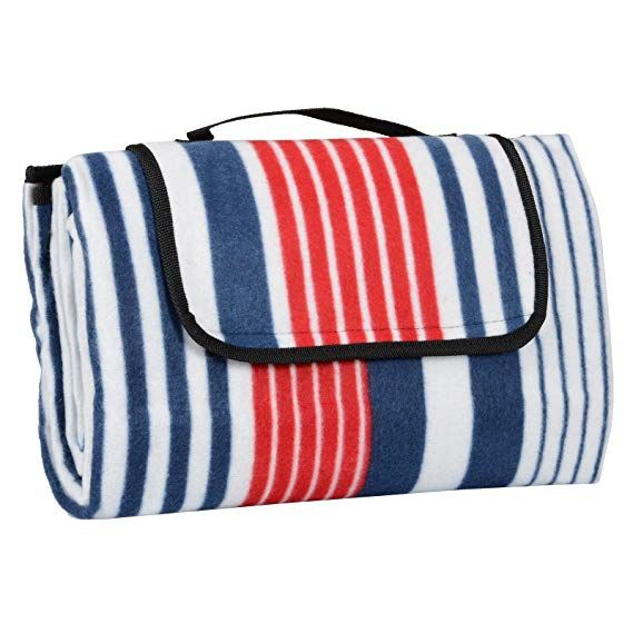 Azuma 130 X 150cm Folding Picnic Blanket Waterproof Backing Red Blue Stripe Fleece Rug