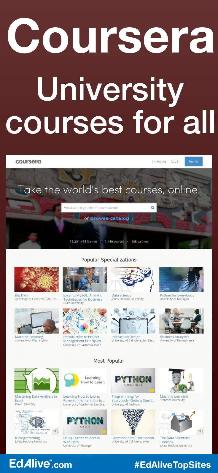 University courses for all | Offers courses from top universities for free. Coursera offers massive open online courses (MOOCs). Coursera works with top universities and organizations to make some of their courses available online, and offers courses in physics, engineering, humanities, medicine, biology, social sciences, mathematics, business, computer science, digital marketing, data science and other subjects. #OnlineLearning&eLearning #EdAliveTopSites
