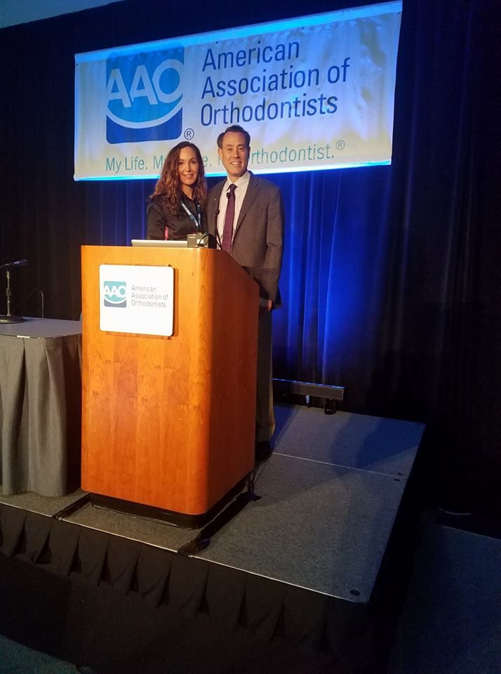 Dr. Jasmine Gorton with Dr. Mark Lowe at the annual American Association of Orthodontics meeting. Lecture on clear aligners for orthodontic treatment.