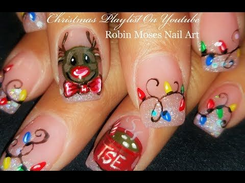 Xmas Nails! Reindeer, Hot Chocolate and Christmas Lights Nail Art Design - YouTube
