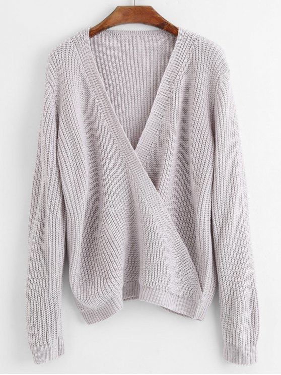 447b43486 Up to 70% OFF! Crossed Front Pullover V Neck Sweater.Zaful