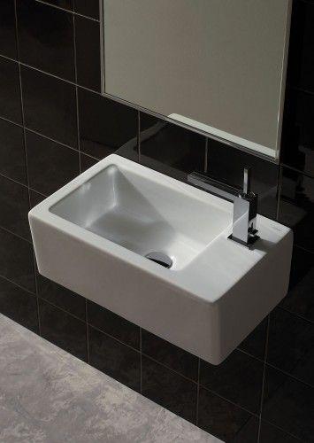 kleiner, eckiger Waschtisch | 53 cm breit | nur 32 cm tief | Wandmontage | für Standarmaturen oder alternativ auch für Wandarmaturen | Serie Classa