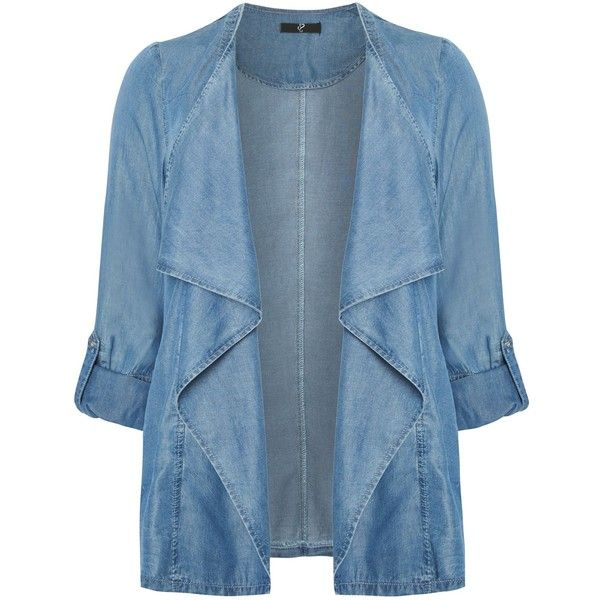 Evans Denim waterfall jacket ($69) ❤ liked on Polyvore featuring outerwear, jackets, denim, women, blazer jacket, 3/4 sleeve jacket, waterfall jacket, three quarter sleeve denim jacket and denim jean jacket