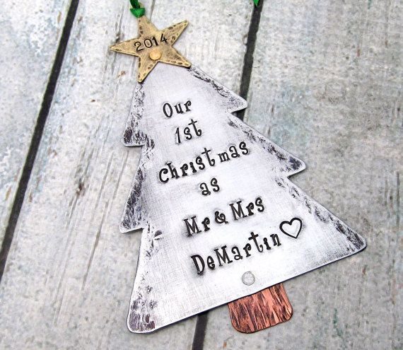 Hand Stamped Mixed Metal Couples First Christmas Tree Ornament perfect for your first holiday together as Mr & Mrs. This ornament would make