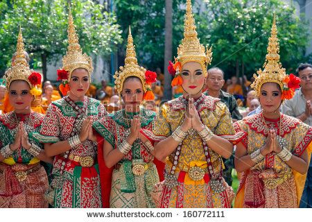SARABURI, THAILAND, OCTOBER 2010 - An unidentified people dressed as god and goddess to show Thai Folk Dance at Phraphutthachai Temple in Saraburi, Thailand on End of Buddhist Lent Day, October 2010. - stock photo