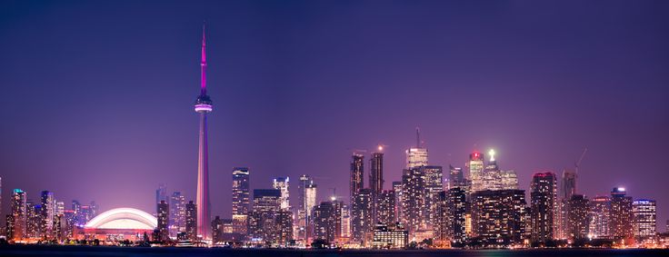 https://flic.kr/p/22R1iso | Toronto Skyline 2013 tiff.jpg | Toronto Skyline featuring CN Tower and Rogers Centre during the dusk hour, beautiful light colours reflected on the lake water