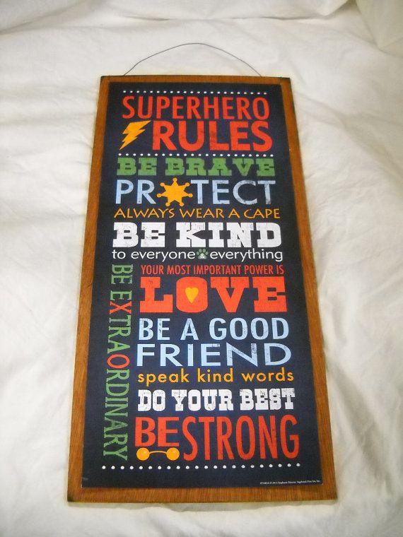 Super Hero Rules boys bedroom inspirational Wooden by melimarlatt, $19.99
