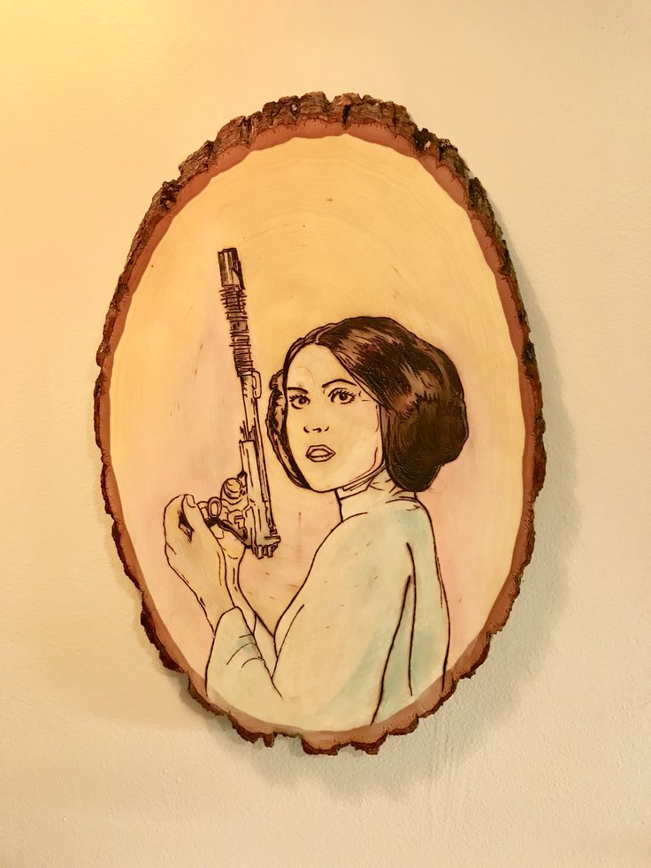STAR WARS artwork, Princess Leia, Wood burned and painted in pastel colours.  Wood burning  Watercolour