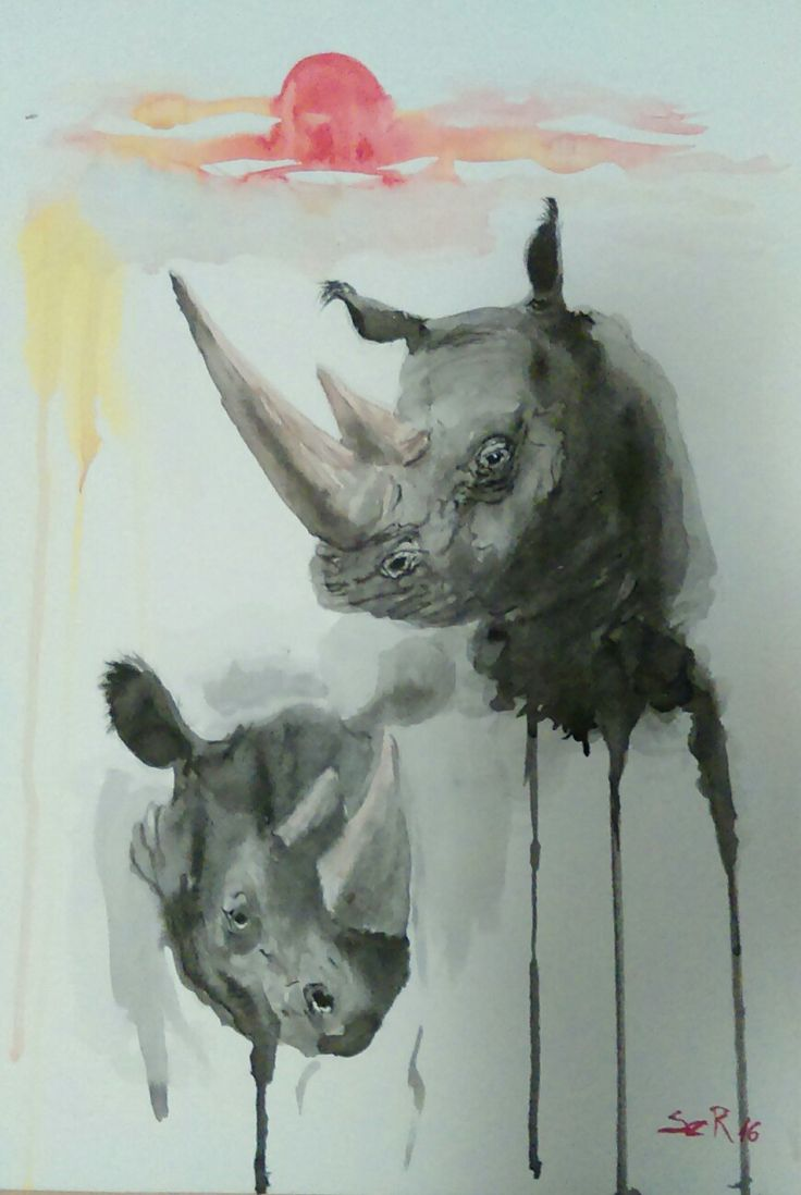 Watercolor Rhino