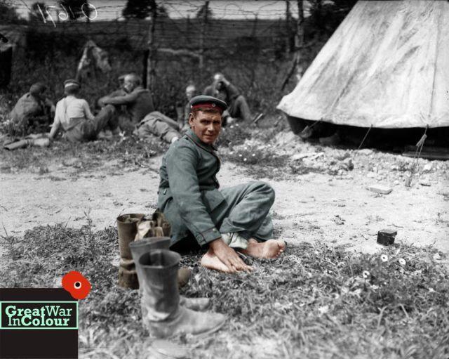 Portrait of a German soldier in a prisoner of war camp. July 1917.