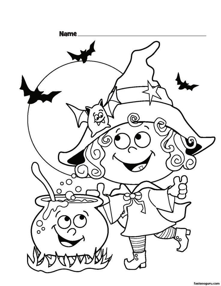 Cute Witch Halloween Coloring Page