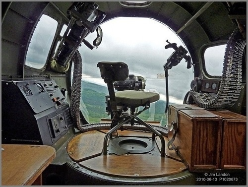 """The Bombardier's Office"" The bombardier's station in the nose of the B-17 Bomber. Wow!"