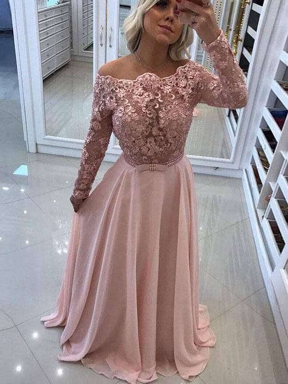 9bdb831ef8bf1 A-line Off the Shoulder Lace Top Chiffon Prom Dresses with Long Sleeves  APD2995