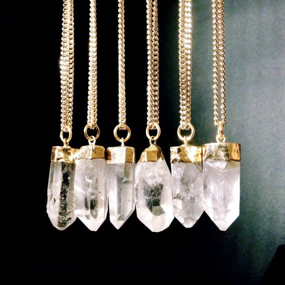 Raw Crystal Necklace Quartz Crystal Point Pendant by AtelierYumi, $38.00