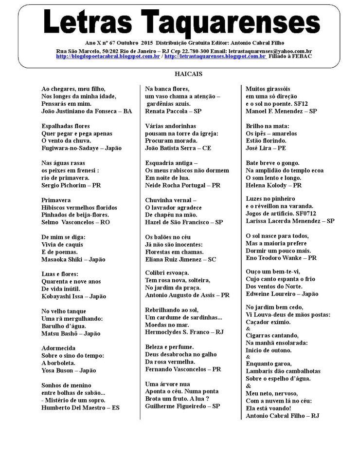 Letras Taquarenses Ano X Nº 66 Julho 2015 - (Lt66jul15) - Editor: Antonio Cabral Filho - RJ