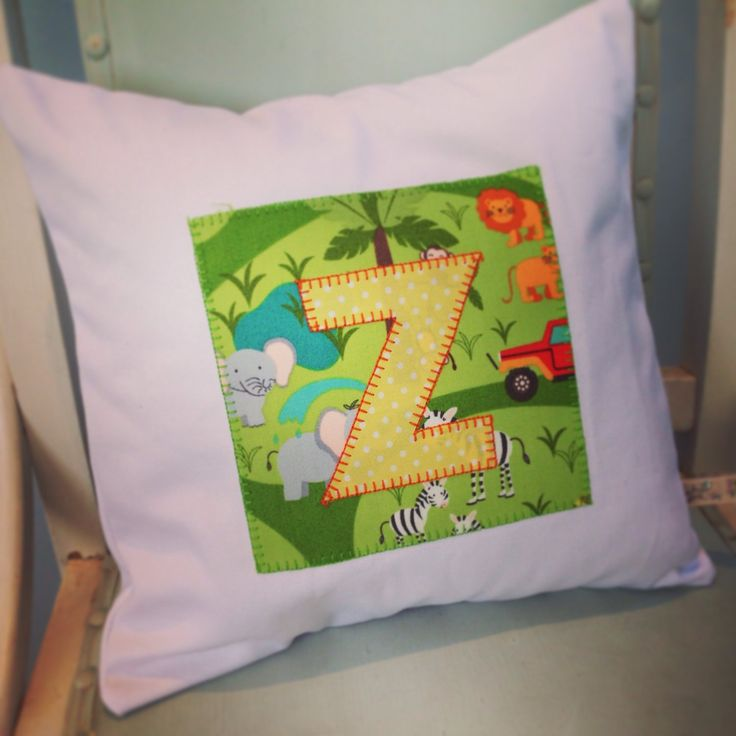 From our Safari Park Collection - a personalised cushion. Great baby or toddler gift.