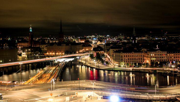 Nocna panorama Sztokholmu