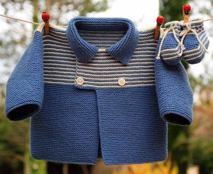 layette ensemble mérinos 3 mois neuf tricoté main gilet et chaussons : Mode Bébé par com3pom