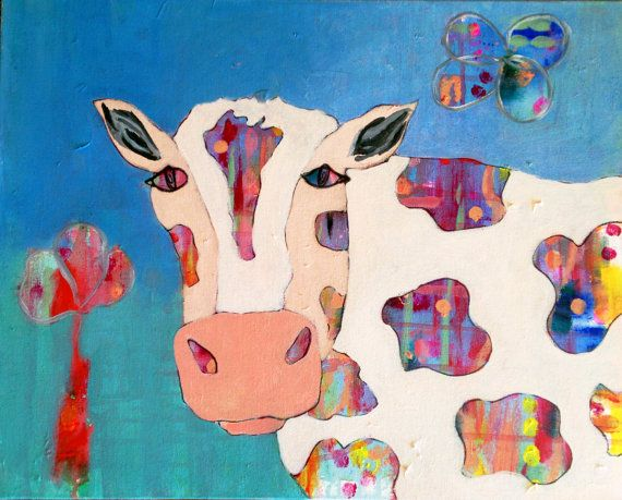 Cow Original Acrylic Painting on Canvas 40x50 cm by coocoovaya