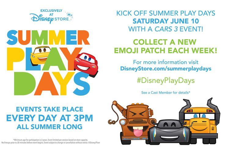 Summer Play Days at the Disney Store: 'Cars 3' Events, Emoji Patches & More